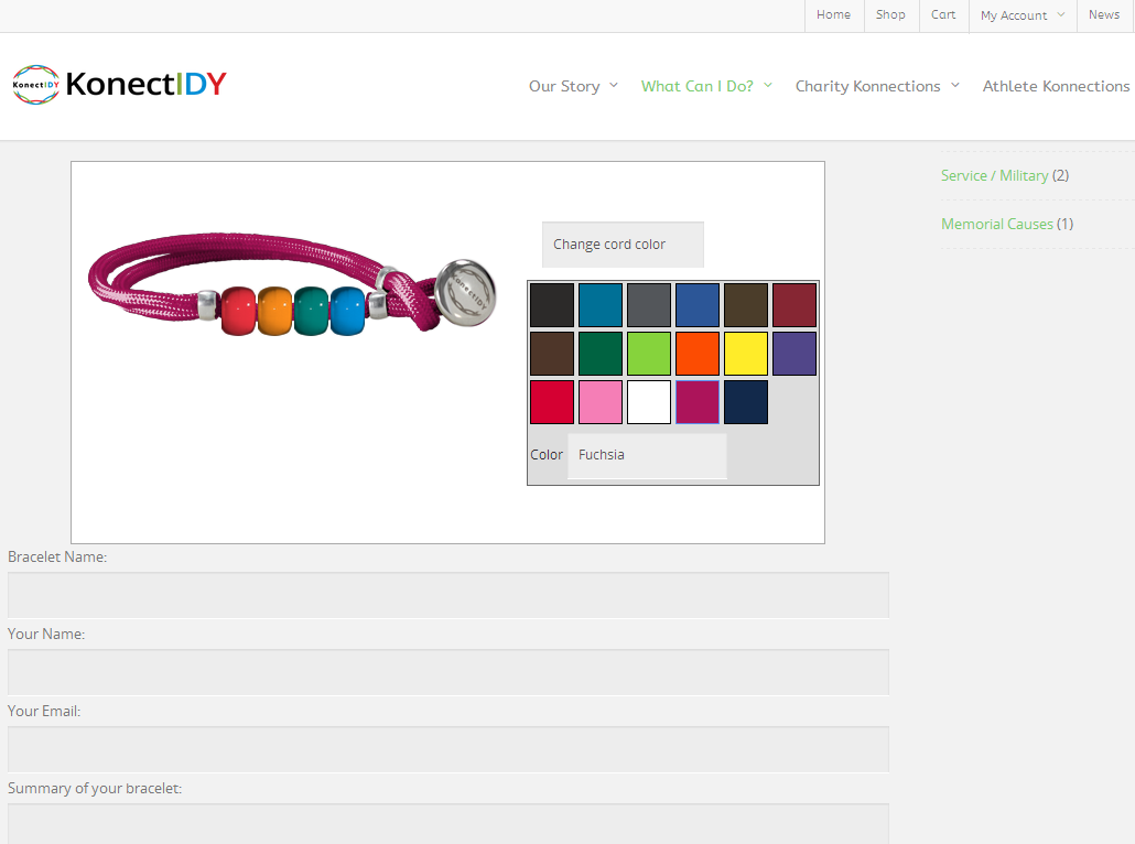 Custom Konectidy bracelet creator by Press Up web development