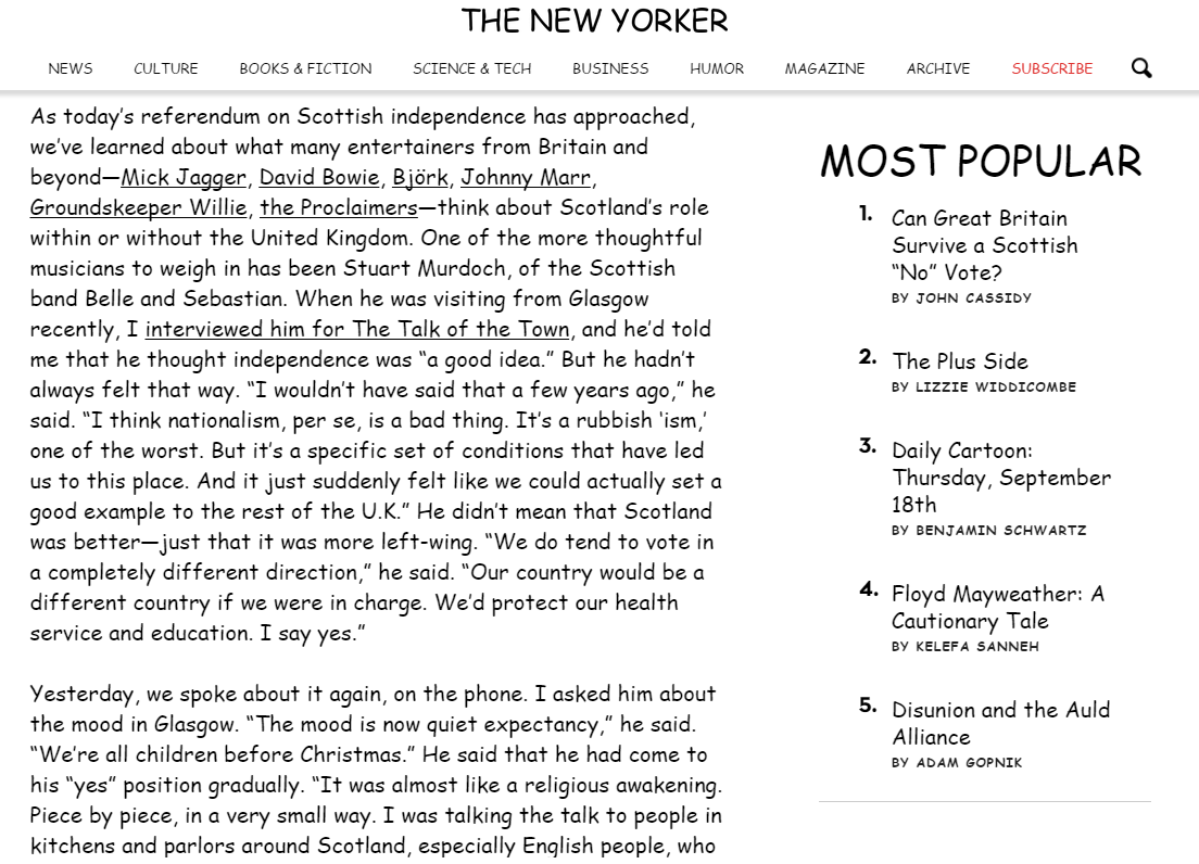 The New Yorker Comic Sans