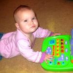 angry baby at computer